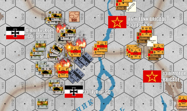 Now that I've closed the distance on Turn 3 and taken my lumps, on Turn 4 I can open fire point-blank into the town of Vilk'huvatka.  Tigers, Mark IVs, Marders, halftrack MGs and 2.0cm FlaK autocannons all target AT guns first, along with Soviet SMG platoons to reduce the risk of close assault in the streets and approaches of that town.  I won't lie, I get two pretty good rolls here, killing both AT batteries and SMG platoons.
