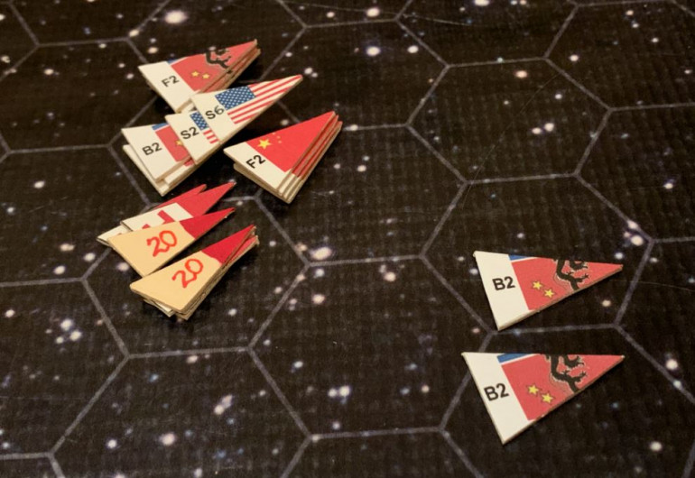 My scouts, meanwhile, engage Black Dragon bombers.  Two of these scouts are double-elite Marines off USS Tarawa.  The other six are standard skill level, two each off the Oriskany, Princeton, and Valley Forge.  I take zero losses (these Black Dragon planes were all releasing ordinance at the Princeton), and four bombers are shot down.