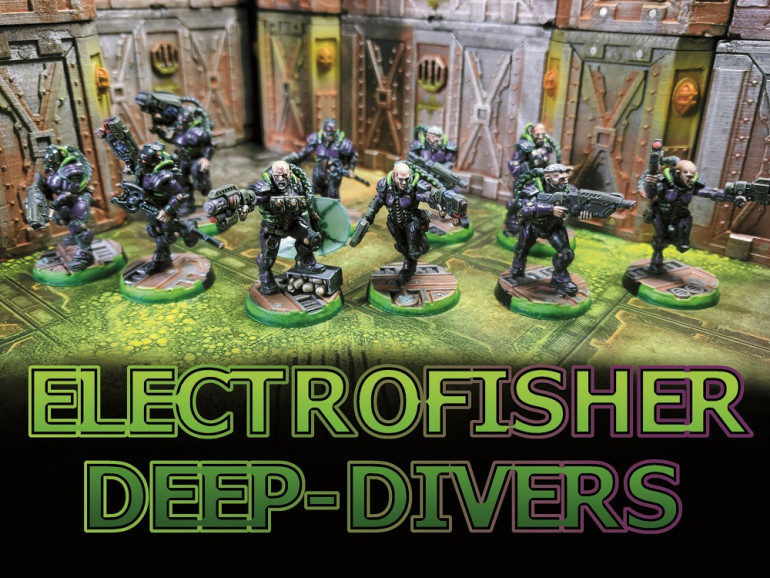The Electrofisher Deepdivers, the name Electrofisher comes from a Manga series by the name of Blame! created by Nihei Tsutomu. The Electo fishers were a group of humans surviving in a vast ever growing city who's only means of survival were to keep exploring and searching for lost tech and equipment... sound familiar? I did like the original Van Saar paintjob but i wanted to make mine a little darker and experiment with some glow effects for the pipes. To be honest I'm not really happy with the final results, the varnish i used ended up clouding up over the paint job and needed to be fixed, the varnish also created a frost effect on the energy shield. I think I'll get another pack of these in the future and give them another shot since the Van Saar are my gang of choice.