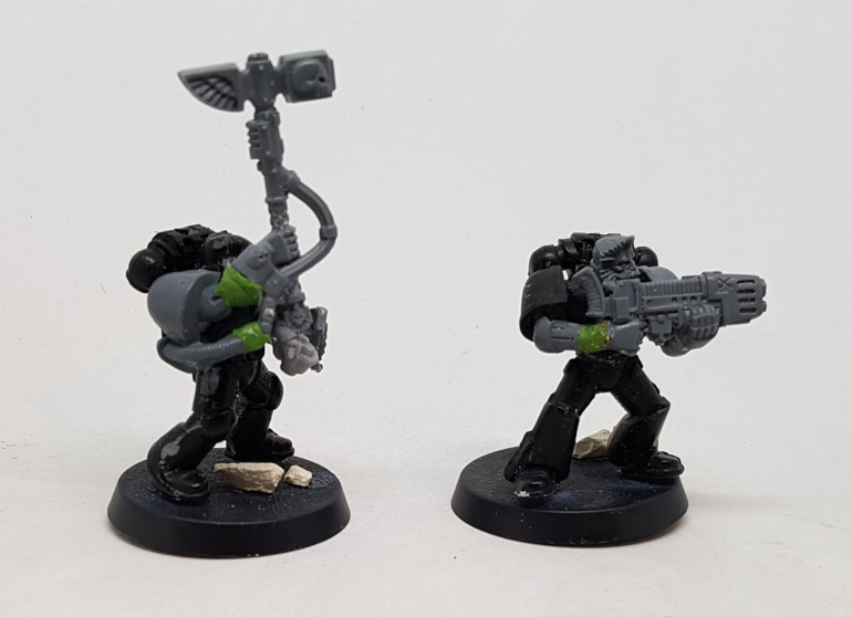 These two had to have limbs repaired or extended with Green Stuff.  it was left 24 hours to dry, and then filed down as best as I can.  Hopefully once primed it will be less noticeable