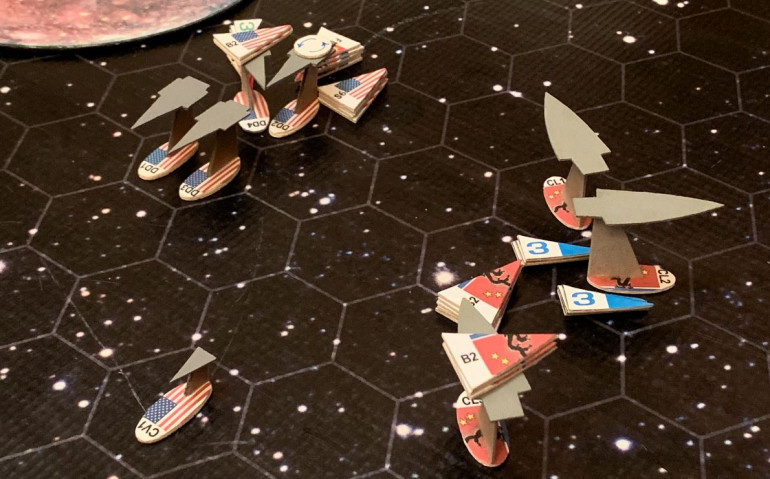 End of movement on Turn 4.  Because our ships are smaller, faster, and ALL have the