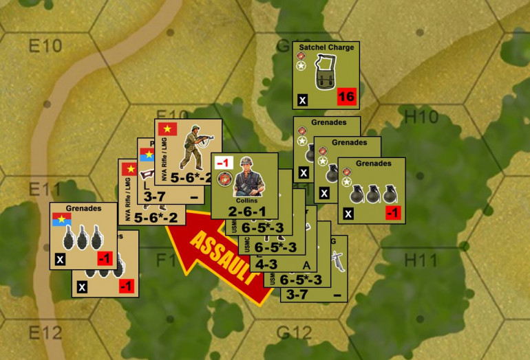 With Waterman and Pierce in real trouble up north, I have to break things loose in the south and hopefully put pressure on that MG and mortar pit from the south.  Collins gets the order, and he leads his platoon in.  The Marines have to lucky a few times here ... they have to NOT hit a booby trap running through the jungle (11 and 12 on 2d6), they have to dodge most of the NVA opportunity fire, then they have to win the assault, then they have to rally enough of their pins so t hey are not susceptible to counter-assault.  Believe it or not, they more or less pull it off, assisted in no small pert by (again) ridiculous American firepower, and the judicious tossing of a satchel charge to help make their assault a lot easier.