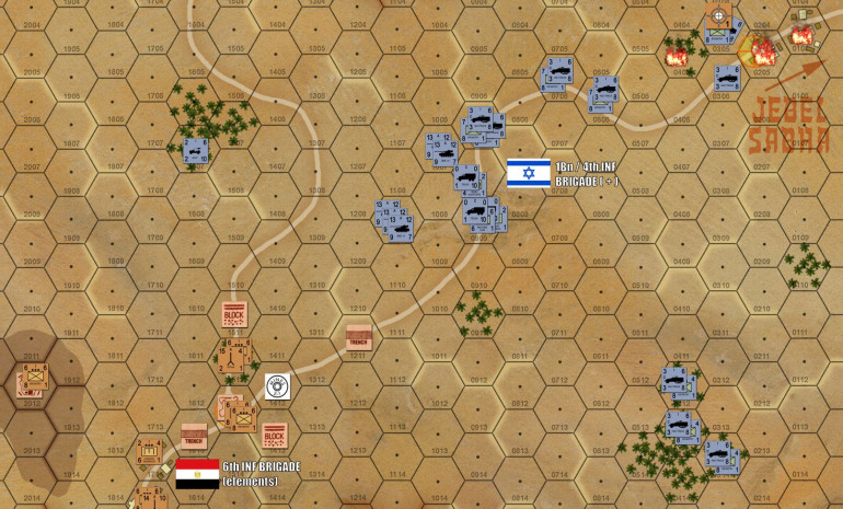 After a couple of turns, actually at least one more turn that I though, Jebel Sabha has fallen and the Isrealis have regrouped for a continued push southwest toward the outskirts of Kussiema.  Here, I have 17 pounder AT guns, Egyptian Army infantry (no more National Border Guards), 25 pounder artillery, more Czech 107s, minefields, blocks, improved positions, etc.  It's not a terribly big position (and Damon has three batteries of off-board 155mm howitzers which which he can play