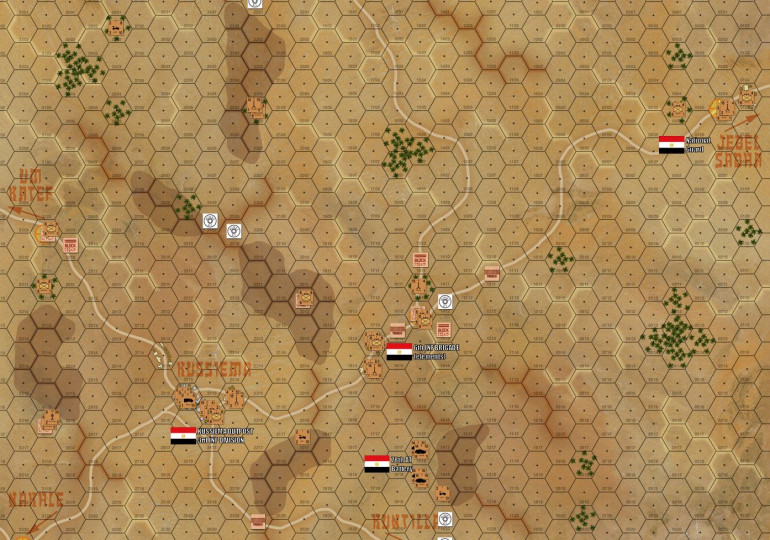 Here is the whole map, with elements of the Egyptian 6th Brigade / 3rd Division set up in defense of the roads leading from border outboast of Jebel Sabah, through Kussiema, then around to the flank and rear of the main Egyptian positions in this area like Abu Agheila and Um Katef.  This battle at Kussiema is important because the it will allow flanking attacks on Abu Agheila and Um Katef.  These main positions must be broken and these roads to the west opened in order for Israeli ground forces to reach paratroopers already dropped at Mitla Pass.  SO THERE ARE FIVE OBJECTIVE HEXES marked with yellow
