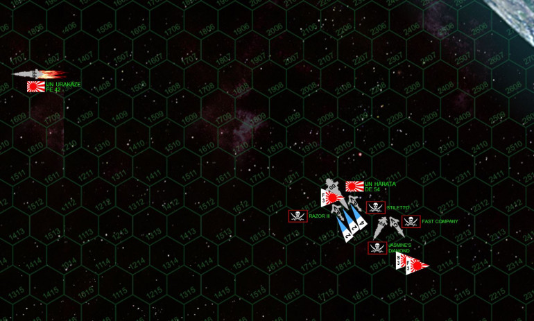 The Urakaze careens away while the Fast Company tries to limp clear of the firing.  The Hatara pursues her (the Harata actually beats her on initiative), but can't quite get a broadside on the Fast Company due to the gravity of that gas giant's moon.  The pirates turn to port and rush after the Harata, the Jasmine's Diamond crossing her T and the two gunboats rushing past her to Harata's bow with their aft weapons.  Nagek92's strategy here is to deny the Harata any use of her aft weapons, deftly using geometry and fire arcs to take away half of the larger Japanese ship's firepower.  True, this means no weapons will hit the Harata's vulnerable engines, but with this much firepower coming at the Harata's bow, especially that hail of Sparta XII torpedoes, the Japanese destroyer is in big trouble.  Japanese fighters and scouts will try to shoot some of these down, while the other Japanese fighters will try to finish off the heavily-damaged Fast Company by hitting her ravaged, unshielded bow.