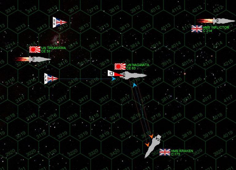 Zooming in a little, we see what I HOPE will be the decisive fire phase, my broadside (almost all guns) against only the Kraken's stern guns.  Unfortunately, Ozawa also has to contend with British torpedoes and fighters.  Two of the fighters score gunnery hits at extended range, and then two torpedoes slam into her stern.  Damage is minimal ... but as fate would have it the one system that was damaged ... was the aft shields.  Still, things seem to be going Ozawa's way, as the Kraken has taken enough damage to where she HAS TO BREAK OFF THE ENGAGEMENT! (Jennifer gets a very bad roll after I score two hits into her cruiser's core compartments).