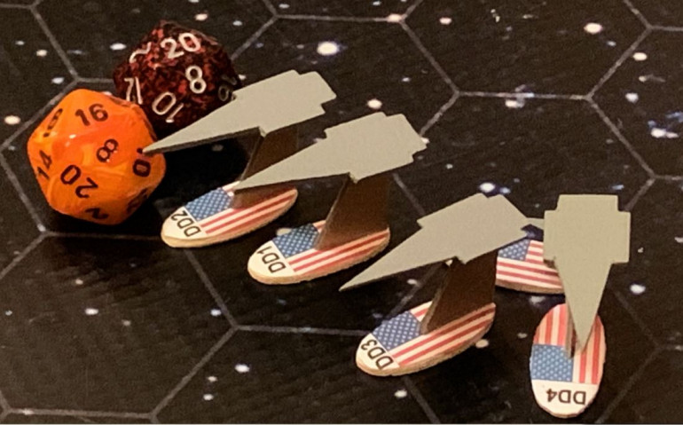 Twenty aerospace torpedoes and sixteen aerospace missiles are heading for the starboard bow of USS Princeton.  But I have quite a bit of mas driver defensive fire myself, and while I don't have nearly as many guns, all my ships have at least a +1 CIC and some ships (Oriskany and Tarawa) also have electronic warfare battle upgrades.  Then the surviving warheads have to hit the ECM and gravitic shielding of the Princeton, which has been battle-upgraded as well ... twice.