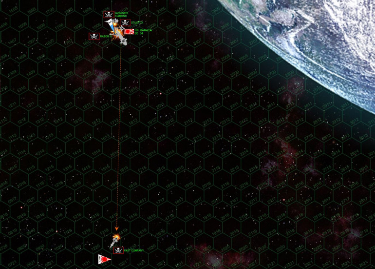 The Fast Company continues to get clear, as the Harata likewise hair-pin turns about and makes best breakaway speed.  Her bridge has been hit, her forward magazine has been hit, three mass driver mounts are knocked down, she has no forward shields, post-battle campaign resolution will show that her captain is in fact already killed, the XO apparently gave the order to break off.  But again, luck just isn't with the Japanese.  Those scouts pursuing the Fast Company really could have knocked her out with just some slightly better luck on the dice, but it's tough to knock out even a heavily damaged corvette with only