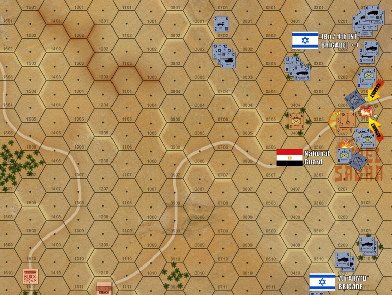 The game begins.  Damon comes on from the northeast, immediately assaulting my Egyptian National Guard border boards (with Czech 107mm recoilless rifles) at the border outboast at Jebel Sabha.  My counterfire knocks out one platoon of Isreali armored infantry, but that's it.  Already the Isrealis have a foothold in the town.  No worries, I certainly didn't expect this town to hold, this is a