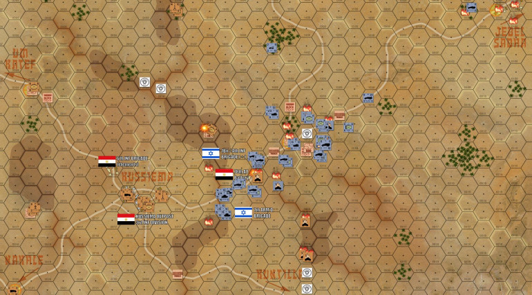 The end of Turn 09, and pretty much the final state of the game.  The game is an Egyptian victory, with only two of the required four objective hexes even assaulted, let alone taken.