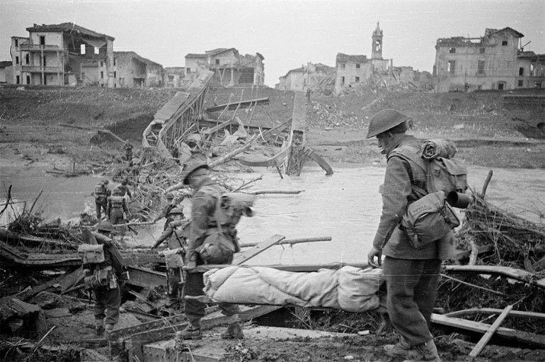 New Zealand Troops of British 8th Army tackling just one of the destroyed bridges
