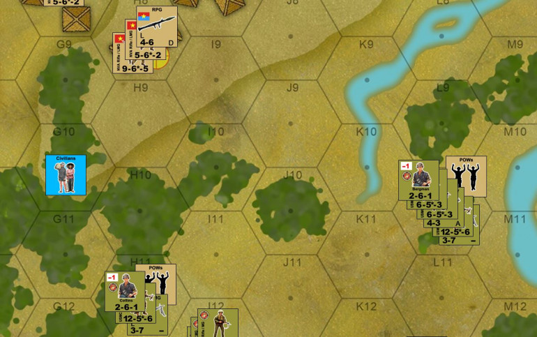 In the south, the battlefield falls momentarily quiet.  All units are rallied, and its time to start evacuating prisoners back to the rally point.