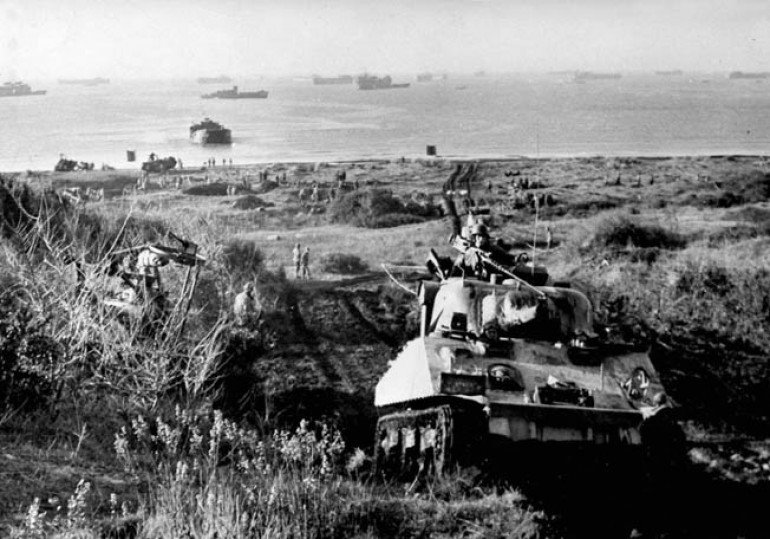 The beach landings were relatively unopposed and Allied forces could advance from the beaches