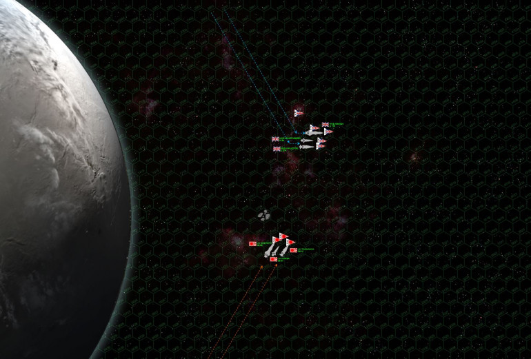 The Japanese predominantly lose initiative, so their heaviest ships have to enter the table first.  The Naginata makes her approach into the empty battle space, and not knowing where the British will be, try to use the asteroid batch to screen her position.  The British make a much faster approach (36 km per second), making a last-minute turn to port to cross the Japanese