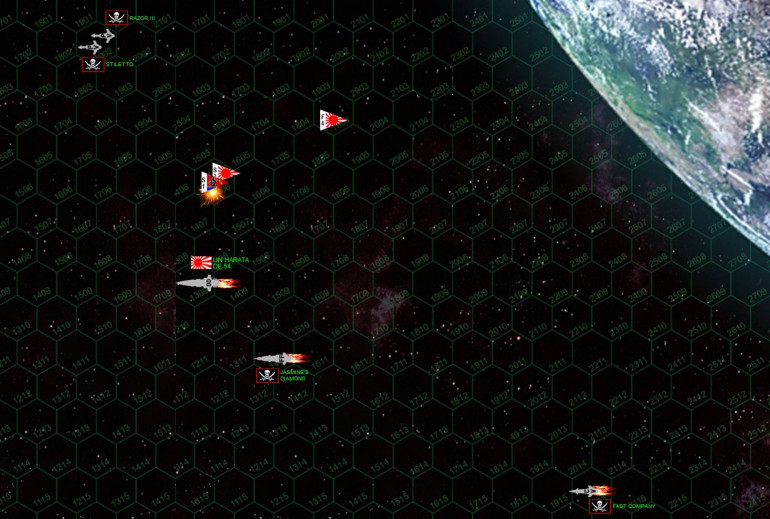 On turn five the fighters can ironically not keeping up with the accelerating gunboats.  But in order to count as victory points, the gunboats have to remain in the battle space, which means they will have to turn around ...  Meanwhile the Japanese scouts score a moral victory by shooting down the one Pirate scout.