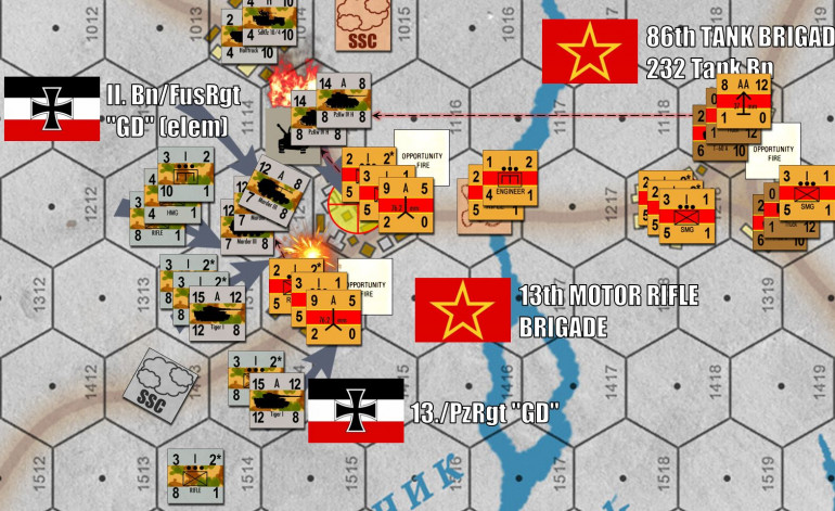 Finally, the assault in the center gets started on the town of Vll'khuvatka.  I roll in with tanks from the north (PzKpfw IVs) and south (Tigers), using the shape of the town to screen each attack from at least some of Andrew's 76.2mm antitank batteries (9-A-5).  The only unit exposed to a crossfire of both batteries are the Marders in the center, selected because, well, they're a little more expendable.  They also have a lower defense than my tanks, so I'm hoping Andrew will fire at them instead of my tanks.  Andrew doesn't entirely take the bait, however, pinning down one platoon of Marder tank destroyers but also KILLING one platoon of PzKpfw IVGs in the north.  In this attack, the 76.2mm AT battery was assisted by Soviet 37mm AA guns firing from under cover across the Orchyk River.