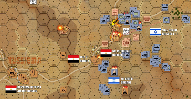 Casualties continue to mount on both sides, probably at a 3:1 ratio between the Egyptians and Israelis.  But I'm out of reserves here, and this second objective hex is about to fall.  And on top of all that, this position has also been outflanked on both wings by Israeli tanks.