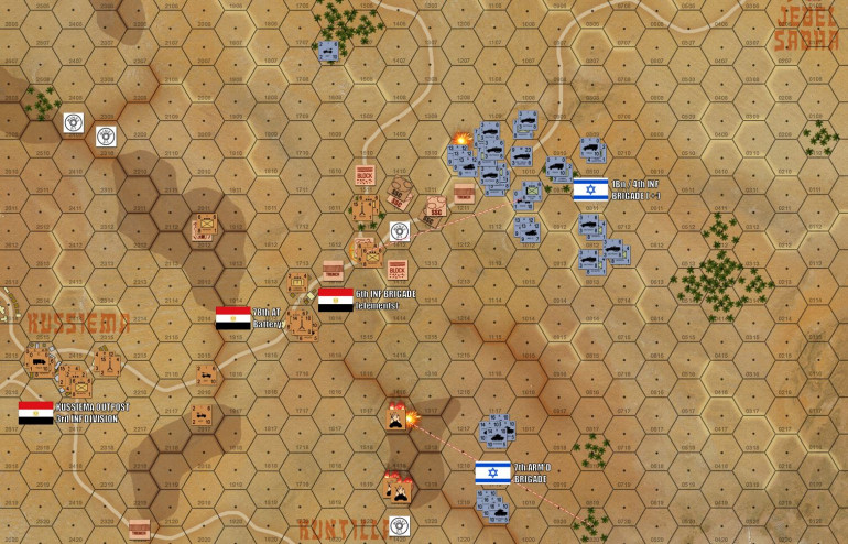 The 7th Armoured begins to apply pressure from the southeast, while 4th Infantry (reinforced with a MG platoon, engineers, and some of the 7th Armored's tanks) comes down from the northeast against 6th Brigade's main line of resistance.