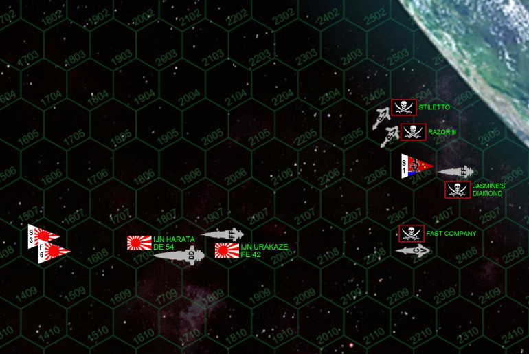 Here is the situation at the end of movement, Turn 01.  The Japanese have entered the table from the upper left, turning hard to starboard to steer away from the planet.  Gravity effects this turn, and this is where they wind up.  Clearly Umbramancer was hoping to screen his vulnerable stern areas against the pirates sure to pop in behind him.  But he doesn't hug the planet quite tightly enough, giving the pirates enough room to sweep in from the same general vector, turn to starboard, and point their bows (loaded with deadly Class V
