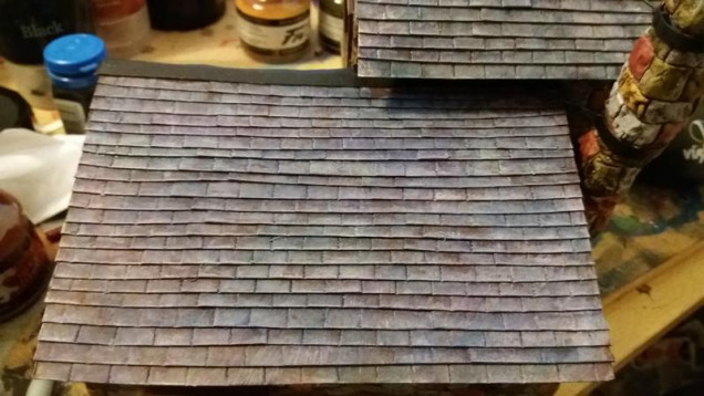 painted the slates, blue, purple and green washes, came out better than i expected :)
