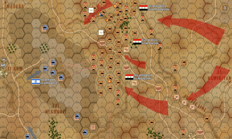 A wide-angle view of the situation at the end of Turn 4. Originally feinting to the center, 78th Armored Brigade now pivots and faces northward to join the 81st in a single titanic shove of Soviet-built steel.  There are still over 150 Syrian tanks rushing up, and the range has now closed to within 1000 meters in some places (4 hexes).