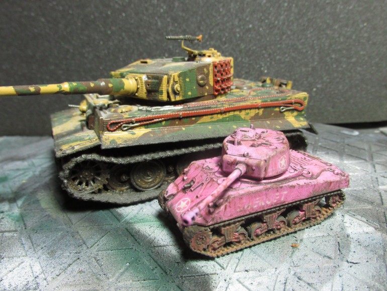 A comparison between Sherbet and a 1/56th or 28mm Tiger tank.
