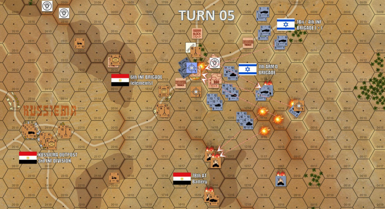Eastern Kussiema is now badly under threat.  Israeli artillery fire is really starting to tell, Archer Ridge is now more or less smoking wreckage, and 7th Armored Brigade is now applying direct fire against the crossroads southern flank.
