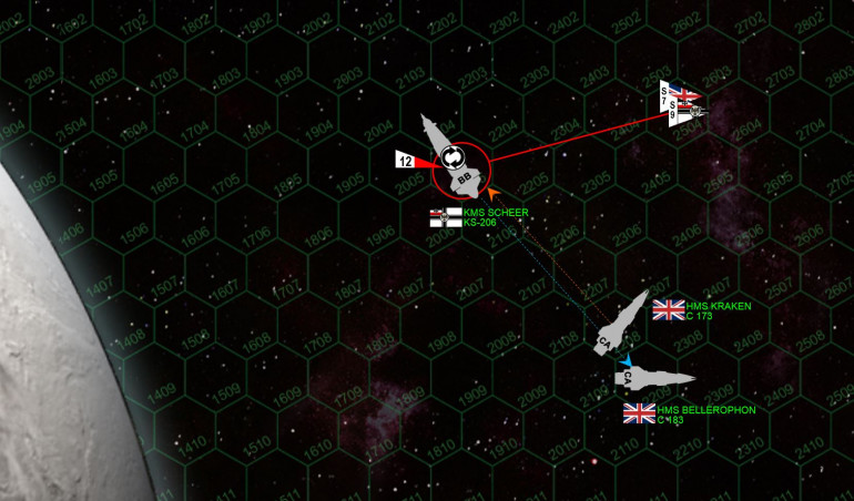 By now I've lost maneuvering thrusters as well, not good for a 400,000 ton battleship that only starts with 2 thrust points anyway (upgraded to 3, but still …)  Long story short, the two remaining heavy cruisers are able to cut broadsides across my stern.  But the Admiral Scheer is a BATTLESHIP, with 6-rated shields and four belts of armor on her stern.    Even taking punishment like this, she's not going down quickly.