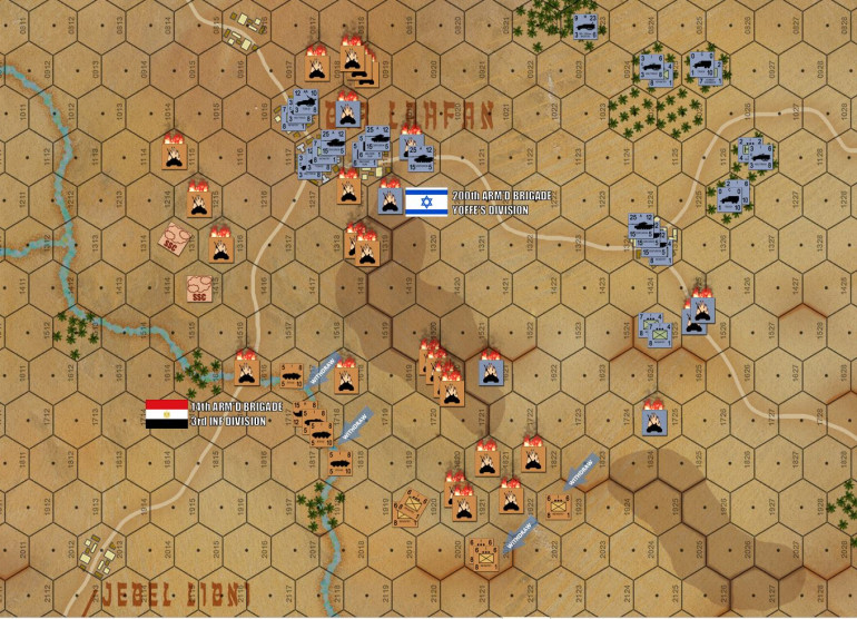 The Egyptians survivors start pulling back to the wadi along the Jebel Libni Road, as I call the game.  Congrats to Damon on a rugged, measured, and flexible defense!