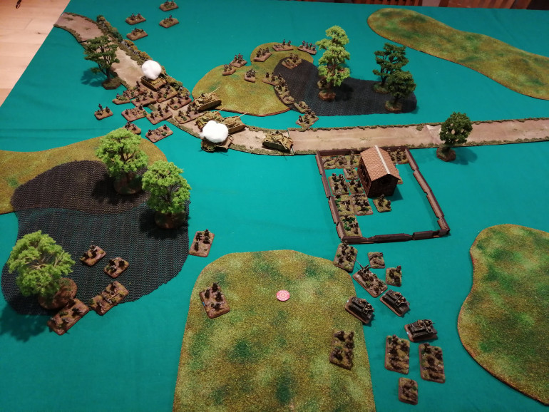 SFOP force the Panzers back (top of picture) while SFRP fall back at the bottom