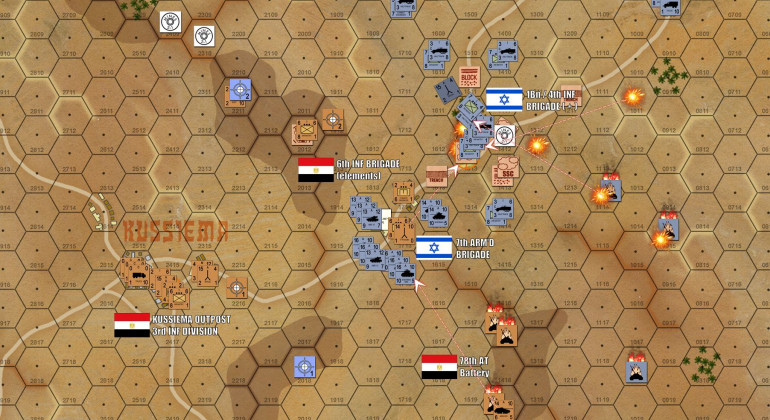 Turn 6 - The Kussiema crossroads have now fallen, although the Israeli victory (rushed) has not been bloodless at all.  The tanks have again bypassed the town once the infantry have caught up and the Egyptians have been sufficiently reduced by heavy firepower, and Israeli infantry assault can carry the victory.  The point is to already be on the next phase of your attack, thus cutting down the number of turns required by the overall process.  Among the losses have been the Israeli halftrack mortar carriers, a critical loss considering how useful this weapon is as a direct-fire weapon to engage soft targets in town hexes..