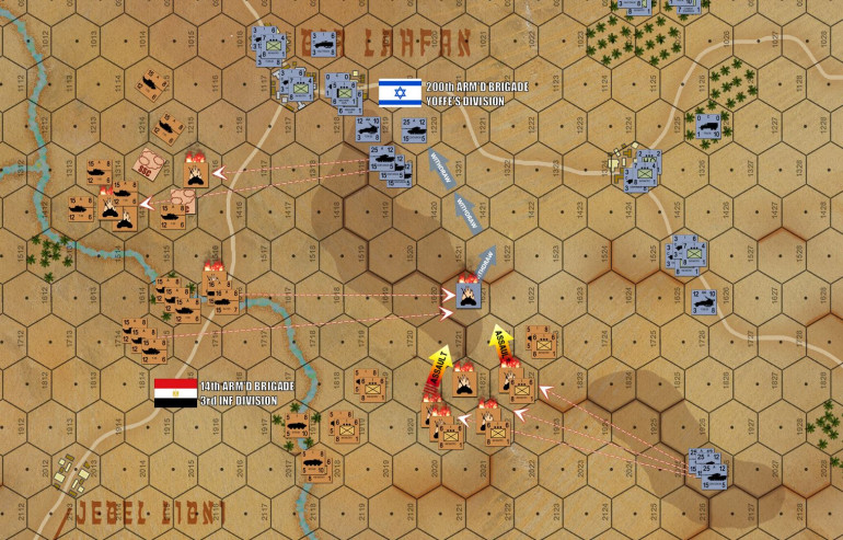 Egyptian infantry is blatantly sacrificed, trying to pin down the Israeli Centurions in the center and south while I use the cover of Bir Lahfan to swing tanks around the north.  I've had SOME success in killing Centurions on the high ground, but it's taking fire phases of 60 tanks and 15 tank destroyers to MAYBE kill one platoon of 5 Centurions.  But of course, I outnumber the Israelis by a tremendous margin.  And one or two lost Centurion platoons could easily destabilize the whole 200th Brigade line.  Welcome to the Arab-Israeli Wars.