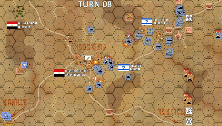 Turn 8:  Critical development here, Israelis now have eyes on the ridge screening Kussiema itself.  Right away they have eyes on the back two objective hexes for off-board Israeli 155mm batteries, including a line of sight on the Egyptian 25-pounders in the backfield.