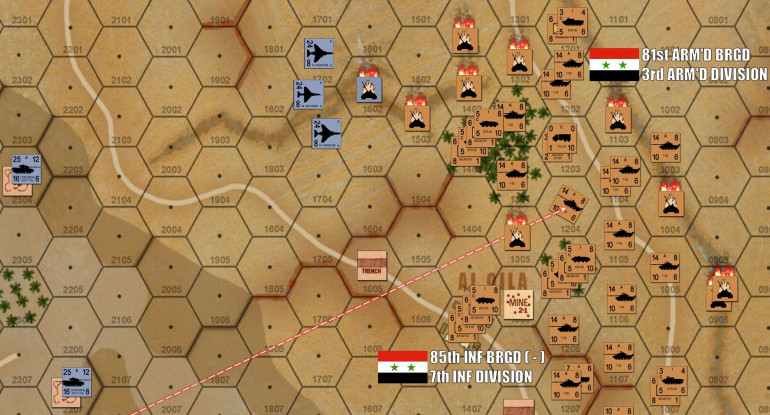 Things get more serious to the north.  Okay, by now Damon has clued in to my intentions.  The way the overall map is laid out, there really is only ONE VIABLE PATH for me to make an operational-scale breakout (the point of the Syrian victory conditions).  I can't swing to the south because the Bental Reservoir blocks my path.  I can't go up the center because he'll collapse both wings on me and butcher me in a crossfire (PRO TIP - in breakthrough games NEVER EVER go up the center).  That leaves only the north, which Damon now realizes ad commits another four IAF fighter bombers to blunt.  This time I put up counterfire (a heavy decision as this counts as opportunity fire, any Syrian unit that uses it will be unable to fire or move NEXT turn).  But it turns out to be worth it, I actually shoot down one F4 Phantom!  BA-BOOM!