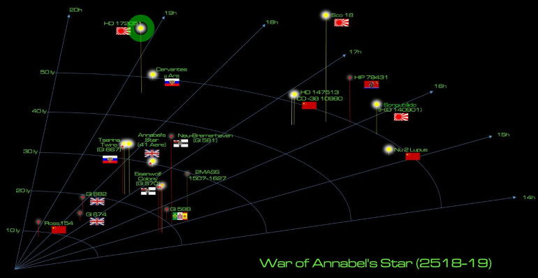 So the setting and special rules for this game are described above.  This map shows the larger operational campaign area for the ongoing Duchess Annabel's War, with the location of Kishimoto star system circled in green.