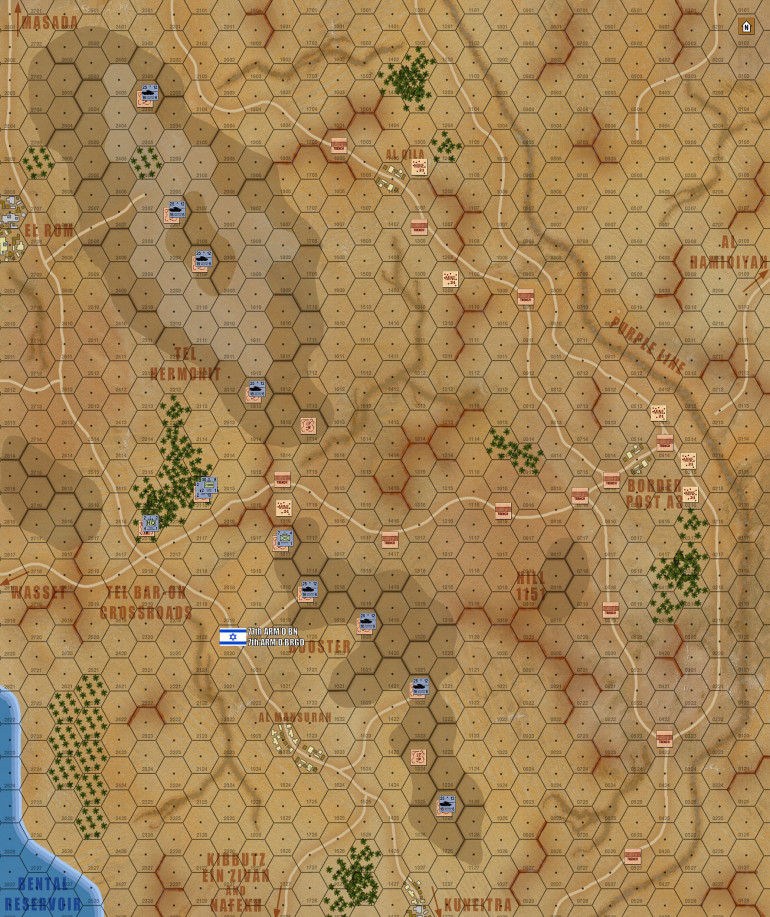 So here is the full map again, only this time with Damon's forty tanks of 77th Armored Battalion, 7th Brigade (Lt. Colonel A. Kahalani) deployed on the Tel Hermonit and Booster Ridge, extending north of Kuneitra along the Purple Line at daybreak, 7 October 1973.  For my money, this is where scaled wargaming (regardless of the medium) really shines.  With enough attention paid to scale, distances, real-life numbers, etc., you can build a board and set up a force, and get an instant