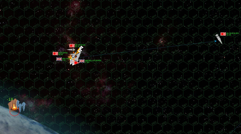 Looks like both sides will get all three troops ships to the combat hex.  One Japanese troops ship took a helluva pounding, but made it nevertheless.  Both players are awarded 150 victory points.  With both sides getting all three troops ships into position, the ground battle of course remains a stalemate (just a much LARGER stalemate), so it looks like this game will be resolved one way or another in high orbit above Kishimoto.  The Japanese set about to win it, putting torpedoes straight down the unshielded bow of HMS Essex (she lost her shields in an earlier fire phase), while the frigate Urakaze and the destroyer Kuroki shoot forward, making a hard torn to starboard, and rake the Essex's note at point blank range.  The Essex is all but torn apart, one Ki-45 torpedo going off INSIDE her port torpedo room and yes, setting off the magazine. However, the return fire from the Essex and especially the Bellerophon positively maul the two small Japanese ships.  They survive, technically, but are horribly damaged, with multiple hits to maneuvering thrusters, engines, reactors, sensors, mass drivers, troops bays, hangars, and core sections like life support, med bays, Darkstar drives, and so on.  The HMS Essex is not so lucky, her crew is unable to maintain power and she goes dark, adrift and burning, out of the  battle.