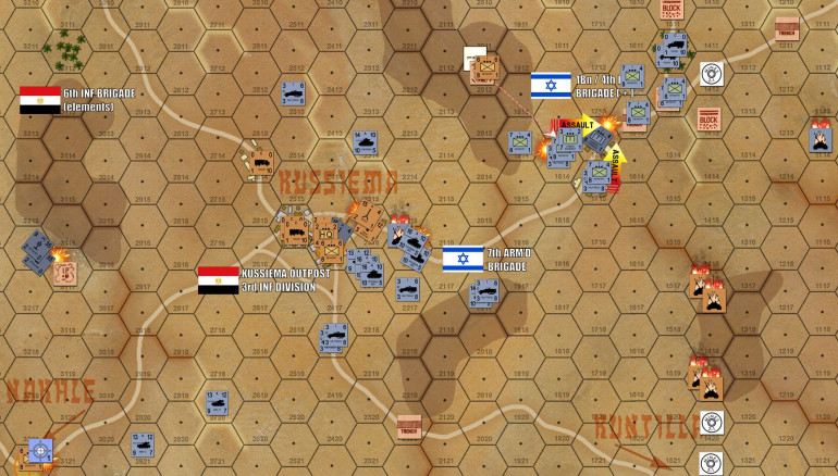 Turn 9: Egyptian artillery is toast, victim of Israeli counterbattery fire from 15 miles away. The objective hex on the Nakhle road has been bombarded as well, but the Egyptian rifle platoon holding his hex has rallied after being pinned.  Meanwhile, Israeli tanks are positively leveling Kussiema in their attempts to blast their way in.  However, thos Czech 107mm recoilless rifles are knocking out occasional AMX 13 platoons or Israeli halftracks,