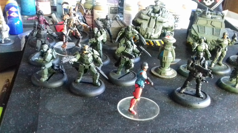The Elite Shiver Squad and Sergeant Rooker. The black undercoated guy next to Delia is another Operativè called Joe Fade whom I used very effectively in last game I played (sometime ago now) hence his jumping the paint que.