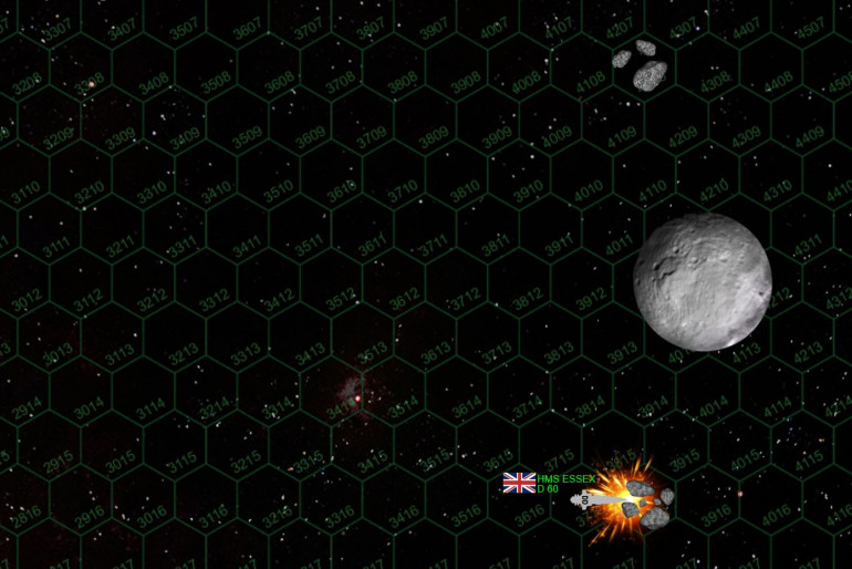 This has not been a bloodless, victory, however.  As we continue to track movement of crippled ships, we find that HMS Essex was on course for an asteroid mining debris field when she was crippled.  The order is given to abandon ship, and HMS Essex is lost forever in a blinding fusion explosion.  Despite the British victory here, HMS Essex is the only permanently lost ship of the day.
