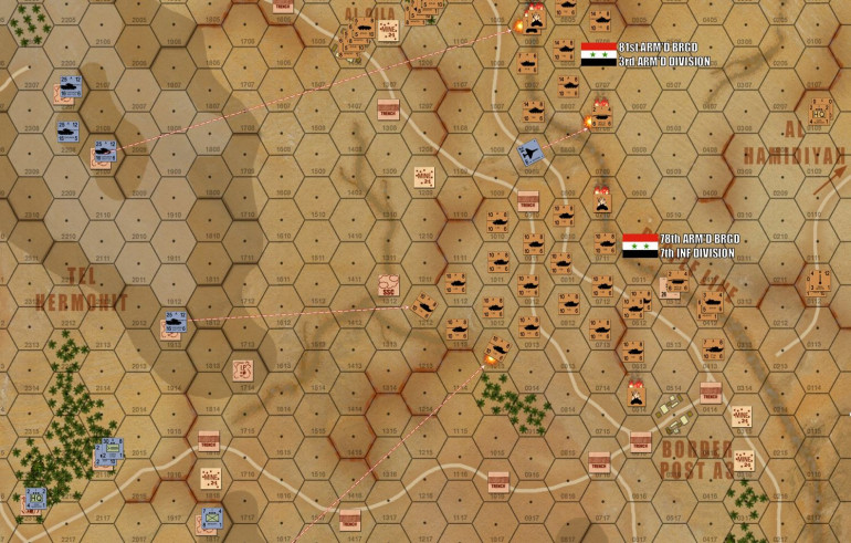 Speaking of killing bridgelayers, the first Israeli fighter-bomber streaks in to take out my poor brirdgelayers attached to 81st Armoured.  Awww!  He's just a bridgelayer!  They barely have guns!  And didn't even shoot at anyone!  He just wants to build his little bridges!  :(
