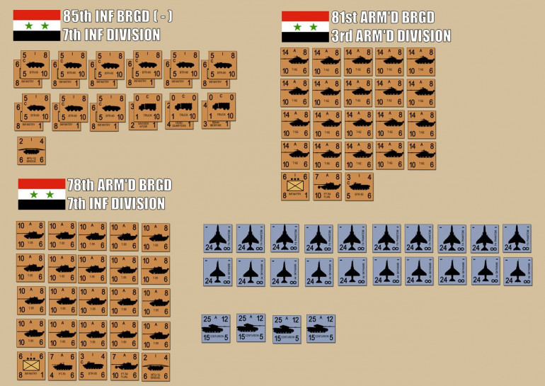 The total Syrian force.  Two full brigades of Soviet-built tanks, 100 T-55s, 100 T-62s, plus support vehicles, a reinforced mech infantry battalion, engineers, Sagger antitank missiles, you name it.  Historically the Syrians also had formidable artillery off-board, but this scenario out of the AIW book doesn't include it so we're leaving it out (I changed the map, that's probably enough alteration to the published scenario already).  Also the Israelis have 20 air strikes ready to go, but I get 2 VP for each air strike Damon feels forced to call in.  A special rule allows for one platoon of standard Sho't Centurions to enter the table (the four along the bottom) on a die roll at the beginning of each Israeli movement phase.