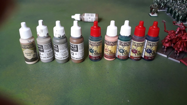 Paints used to date - mainly as a remiinder for myself. Apparently when doing the initial cohort I was in my 'paint all the things in WW2 infantry colours' phase...