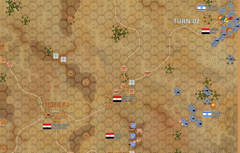 Turn 2 - the Israeli 7th Armored Brigade is now close enough with those loooong-ranged 75mm French AMX-13 guns to engage the Egyptian Archer tank destroyers on that southwestern ridge. Israeli tanks are also calling barrages from their off board 155mm howitzer batteries.  Those shells will arrive next turn. Meanwhile, the assault into Jebel Sabha continues.