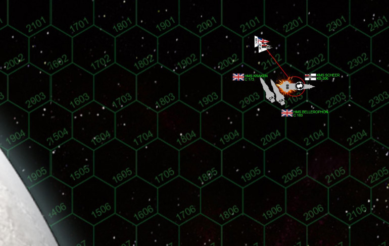 "Okay, things go so hectic on the last turn of the game I had to actually zoom in a little.  I rolled my ship, protecting my ravaged starboard bow.  I also managed to point my stern away from the cruisers, leaving them with the unenviable choice of not crossing my stern again, OR doing so at point blank range (the geometry in Darkstar can at times be very unforgiving).  Damon makes the call and dives in, ordering flank speed and all guns to starboard for a point-blank broadside straight into my stern.  A but leery, Jennifer nevertheless follows suit in HMS Kraken.  The Prussian battlewagon positively MAULS the valiant HMS Bellerophon (""Billy Ruffian"") – this is basically the WW2 battleship Bismarck hitting the Norfolk at 1000 yards … the only thing that saves him is (a) I can only hit with aft weapons, and (b) I don't get the best hit locations.  Once again, Billy Ruffian get a little lucky here and escapes with her reactors, and her life … damaged and afire … but functional.  Meanwhile, the Admiral Scheer is finally crippled, ending the battle."