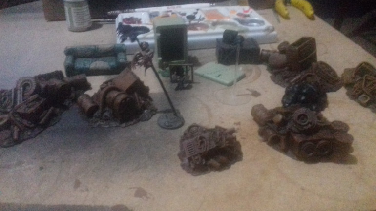 Some more scenery including a cannibals fridge, a broken TV, a sofa all by TTCombat,https://ttcombat.com/collections/city-scenics  and a camera drone (there are rules for using a camera drone) built from GW bits, may add another camera but that will be after SALUTE as I have shopping lists for both Crooked Dice and TTCombat.