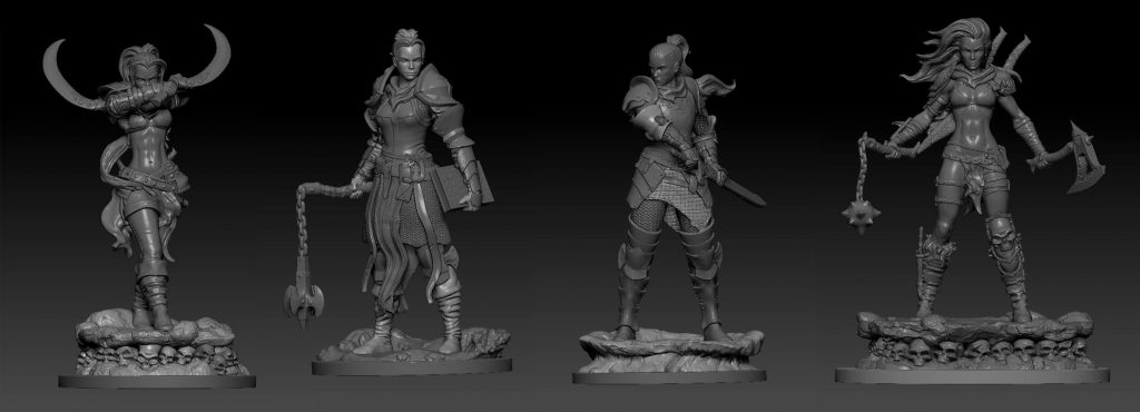 75mm Fantasy Females - Fire & Ice Miniatures