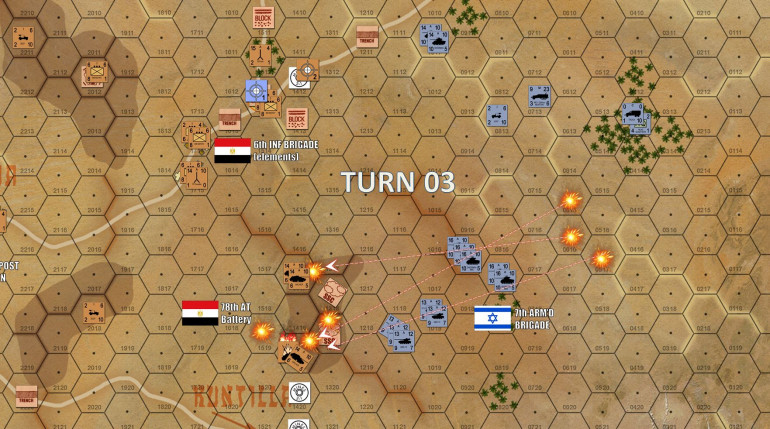 Turn 3 - in the north, the Israelis have had eyes on the next objective hex (two platoons of M1 Shermans spotting those eastern town hexes of Kussiema) and call in Turn 3 artillery missions that will impact on Turn 4.  Meanwhile, Israeli artillery on