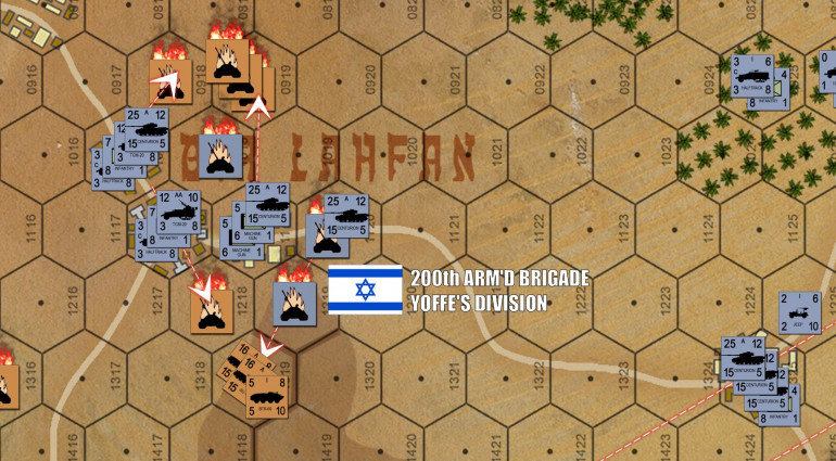 Giving up on the southern and central ridges, the Israeli Centurions condense their defense on the crossroads of Bir Lahfan itself.  In so doing, they more or less smash my northern arm.  That's the bad news.  The good news is that my remaining T-55s, SU-100s, and even BTR-60s now have the high ground and the Israelis are no longer getting +2 DRM on all my fire coming at them because of hull-down shielding.  In fact, I'M getting the +2 DRM for my SU-100s, which Damon keeps dispersing but never quite killing.   Meanwhile, I'm dying fast everywhere else, but still inflicting casualties.  One thing's for sure, Damon's paying  a much steeper butcher's bill for this defense than Bar-Am's Battalion did historically.