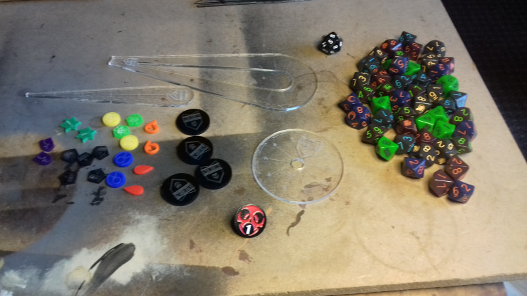 Dice, counters and templates